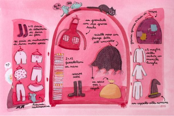 """E guardate un po' il guardaroba della Befana - da """"Manuale della Befana"""" (illustrazione di Valentina Magnaschi)"""