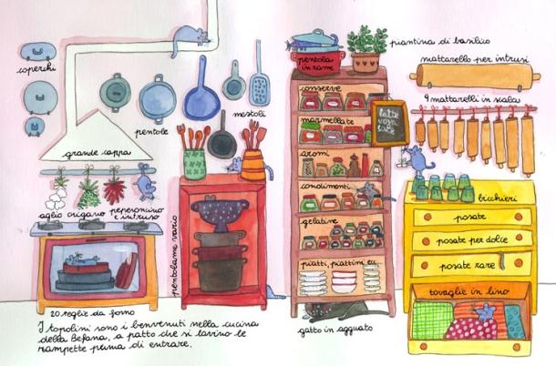 """...e la sua cucina secondo il """"Manuale della Befana"""" (illustrazione di Valentina Magnaschi)"""